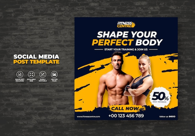 Fitness or gym studio social media banner lub kwadratowa ulotka sportowa