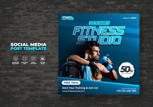 Fitness or gym studio social media banner lub kwadratowe ćwiczenia wzór ulotki sportowej