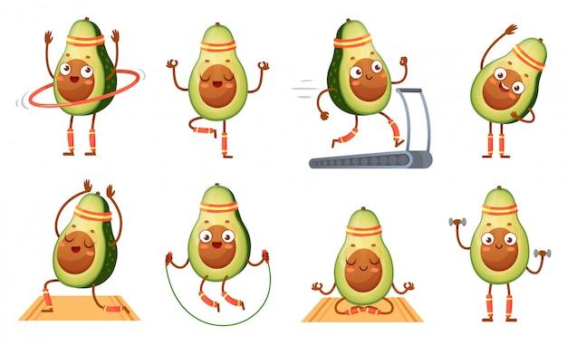 Fitness postać z kreskówki awokado. śmieszne awokado w pozach jogi, siłowni cardio i wegetariańskie sportowe jedzenie maskotka zestaw ilustracji