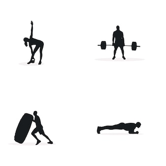 Fitness projekt koncepcja ilustracja sylwetka wektor