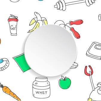 Fitness ręcznie rysowane wzór siłowni i 3d papierowy talerz.