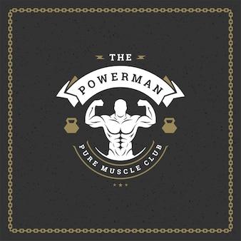 Fitness siłownia logo lub godło ilustracja kulturysta mężczyzna sylwetka
