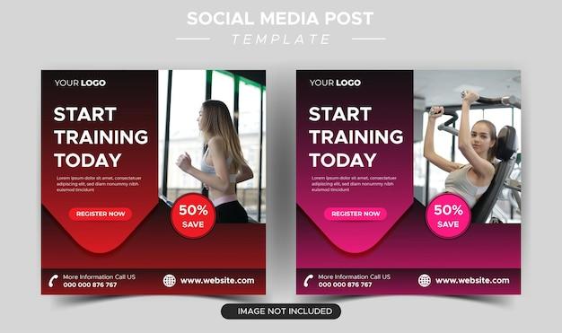 Fitness siłownia post w mediach społecznościowych i projektowanie banerów internetowych
