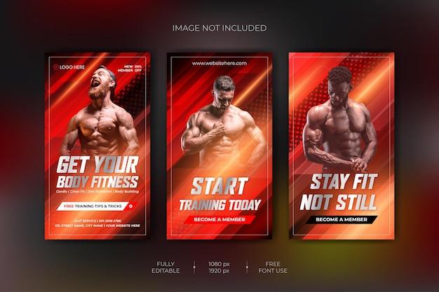 Fitness siłownia treningowa kolekcja opowieści instagram i szablon banera internetowego premium wektorów