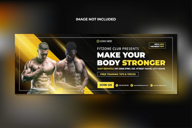 Fitness siłownia treningowa okładka facebooka i szablon banera internetowego premium wektorów