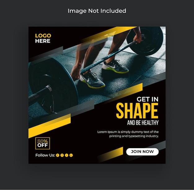 Fitness siłownia ulotka media społecznościowe i szablon banera internetowego premium wektorów
