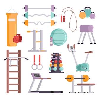 Fitness sport siłownia sprzęt treningowy trening płaski zestaw koncepcja ilustracji wektorowych.