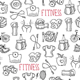Fitness szkic czarno-biały wzór