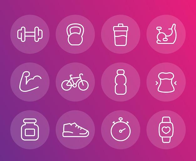 Fitness, szkolenia wektorowe ikony, zestaw liniowy