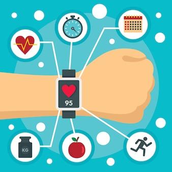 Fitness tracker zegarek koncepcja tło, płaski