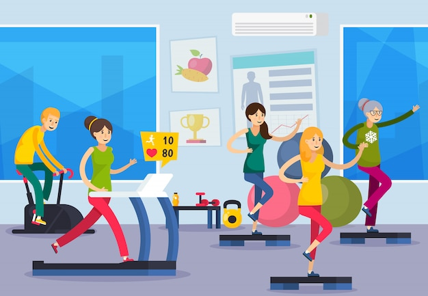 Fitness trening ludzie skład ortogonalny