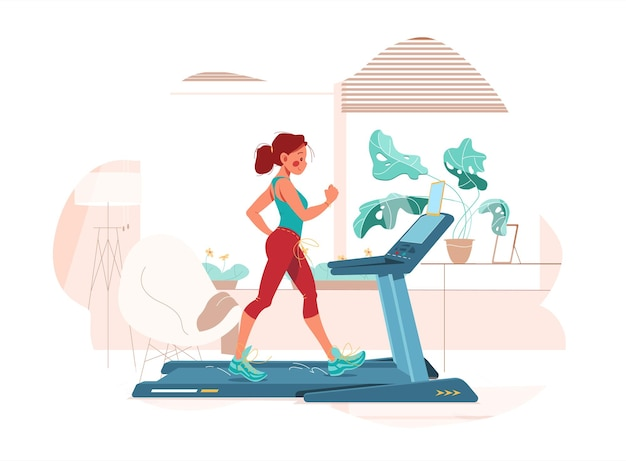 Fitness w domu. dziewczyna ćwiczy na bieżni. sport w pokoju