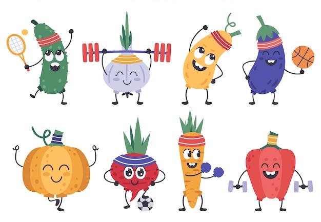 Fitness warzyw. śmieszne zbiory warzyw w ćwiczeniach i pozach medytacyjnych, zestaw ikon zdrowych sportowych maskotek warzyw. warzywo ogórek i ilustracja czosnek, dynia i marchewka