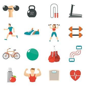 Fitness zestaw ikon płaski