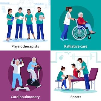 Fizjoterapia rehabilitacja 4 płaskie ikony plac