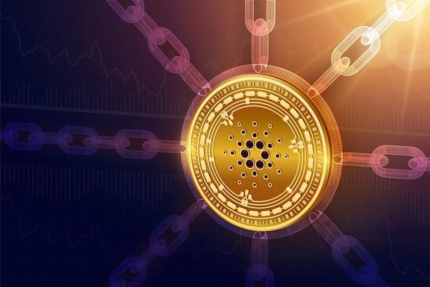 Fizyczna moneta cardano z łańcuchem drucianym. koncepcja blockchain.