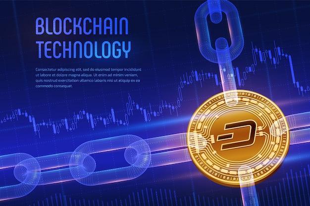 Fizyczna złota dash moneta z łańcuszkiem na niebieskim tle finansowym. koncepcja blockchain.