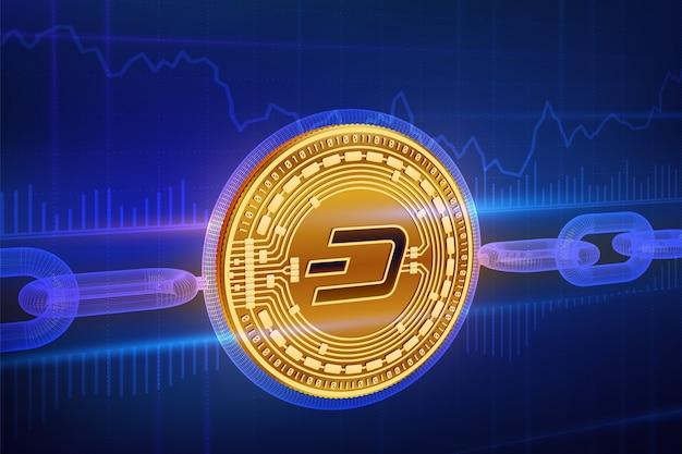 Fizyczna złota moneta dash z łańcuchem drucianym. koncepcja blockchain.