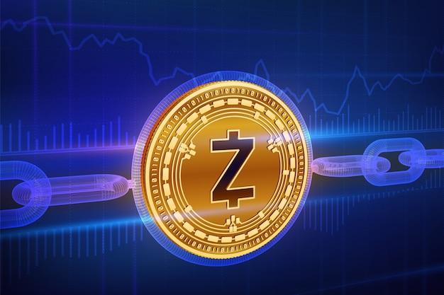Fizyczna złota moneta zcash z łańcuszkiem. koncepcja blockchain.