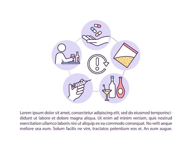 Fizyczne ikony linii koncepcji nawrotu z tekstem