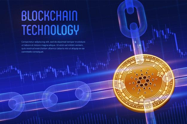 Fizyczne złote monety cardano z łańcuchem model szkieletowy na niebieskim tle finansowym. koncepcja blockchain.