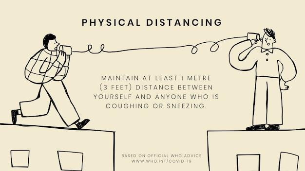 Fizyczny dystans podczas epidemii koronawirusa szablon społecznościowy źródło wektor who