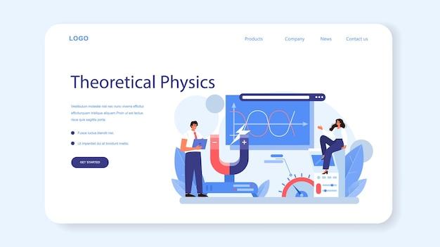 Fizyk baner internetowy lub strona docelowa. naukowcy badają elektryczność, magnetyzm, fale świetlne i siły. geofizyk, astrofizyk, studia teoretyczne i praktyczne. ilustracja wektorowa na białym tle