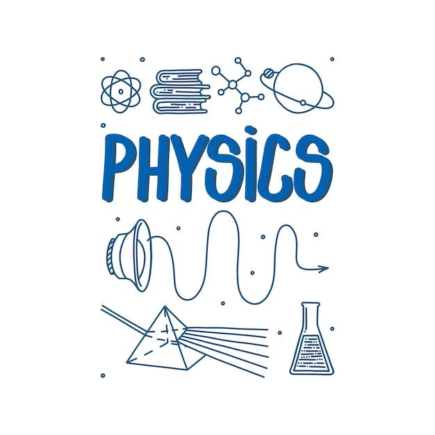 Fizyka doodle z falami dźwiękowymi pryzmatu światła i atomem ręcznie rysowane przedmioty naukowe