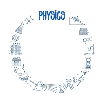 Fizyka doodle z lekkim pryzmatem, atomem i różnymi eksperymentami rama okrągła z nauką