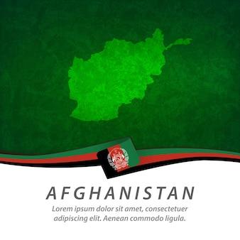 Flaga afganistanu z centralną mapą