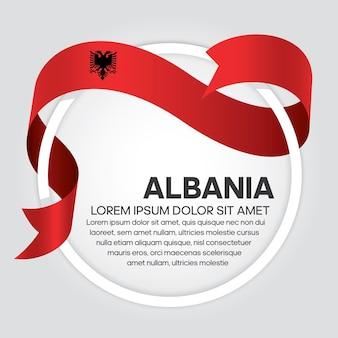Flaga albanii wstążką, ilustracja wektorowa na białym tle
