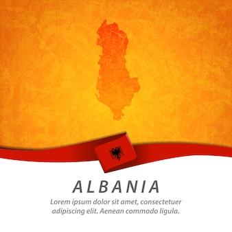 Flaga albanii z centralną mapą