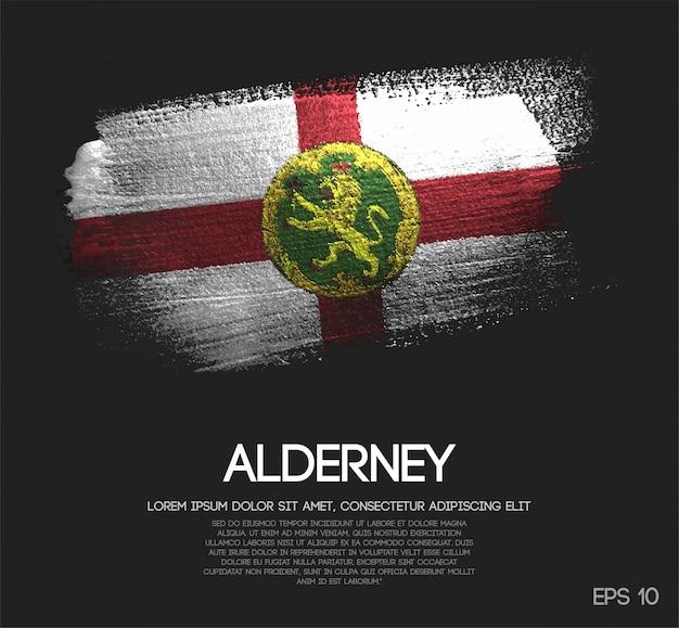 Flaga alderney wykonana z błyszczącej farby w kolorze blasku