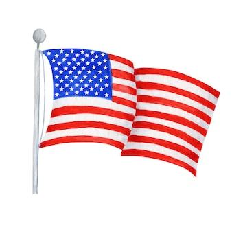 Flaga amerykańska, ręcznie rysowane akwarela ilustracja na szczęśliwy dzień niepodległości ameryki. czwarty lipca koncepcja projektowa usa na białym backgraund