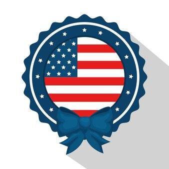 Flaga amerykańska z okrągłym ramki i łuk