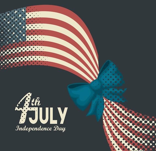 Flaga amerykańska z wstążką i 4 lipca znak