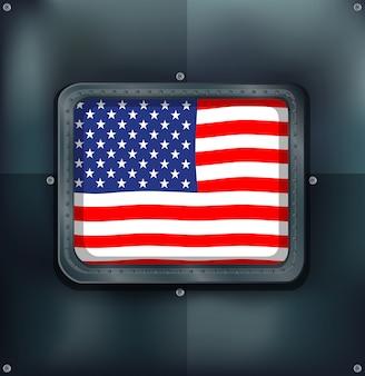 Flaga ameryki na metalicznej ścianie