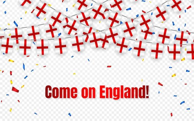 Flaga anglii wianek z konfetti na przezroczystym tle, powiesić chorągiewkę na baner szablonu uroczystości,