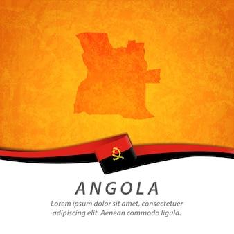 Flaga angoli z centralną mapą
