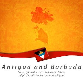 Flaga antigui i barbudy z centralną mapą