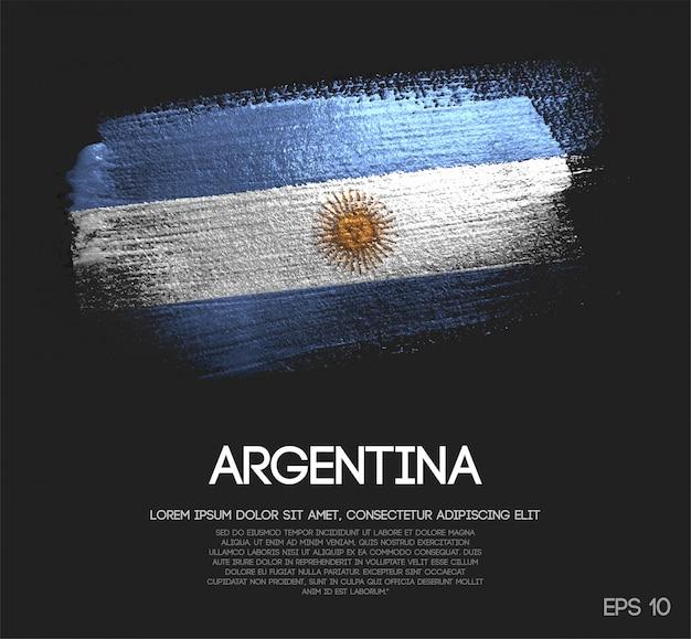 Flaga argentyny z błyskiem blask pędzla farba wektor
