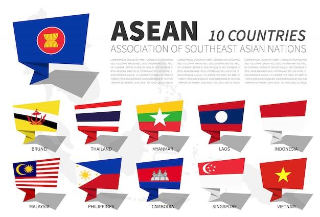 Flaga asean i członkostwo na mapie azji południowo-wschodniej. projekt dymków