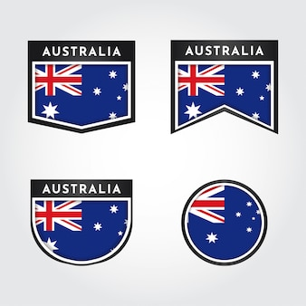 Flaga australii z etykietami ilustracji szablonu projektu
