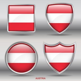 Flaga austrii bevel kształtuje ikonę