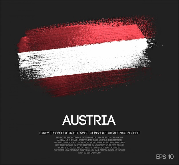 Flaga austrii wykonane z blasku blask pędzla farba wektor