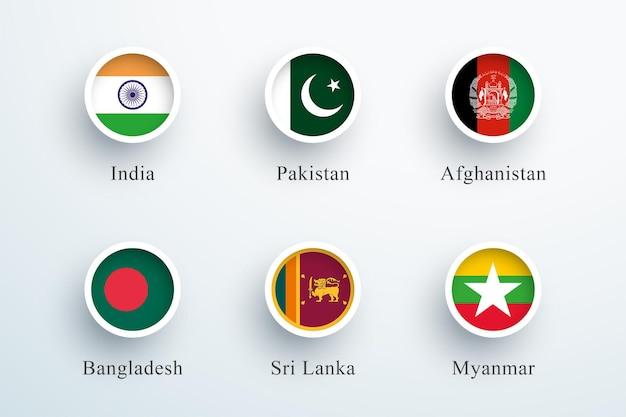Flaga azji południowej zestaw okrągły przycisk 3d ikony koło