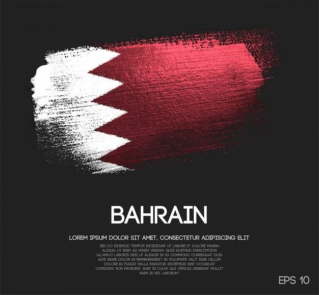 Flaga bahrajnu wykonane z blasku blask pędzla farba wektor