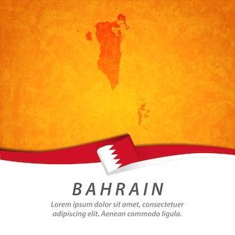 Flaga bahrajnu z centralną mapą