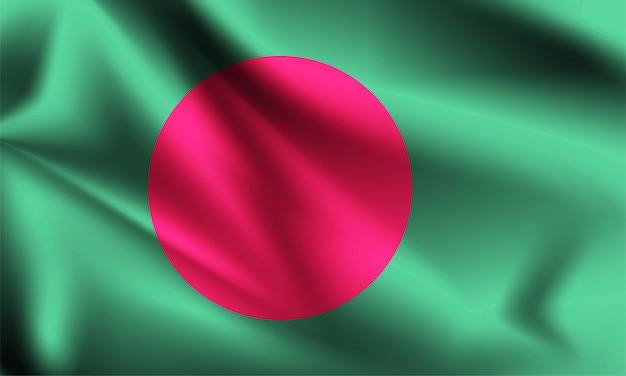 Flaga bangladeszu wiejący wiatr. część serii. bangladesz macha flagą.