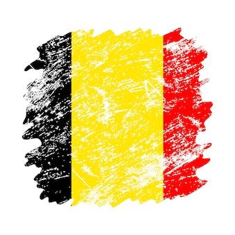 Flaga belgii grunge szczotka tło. stara ilustracja wektorowa flaga pędzla. abstrakcyjne pojęcie pochodzenia krajowego.